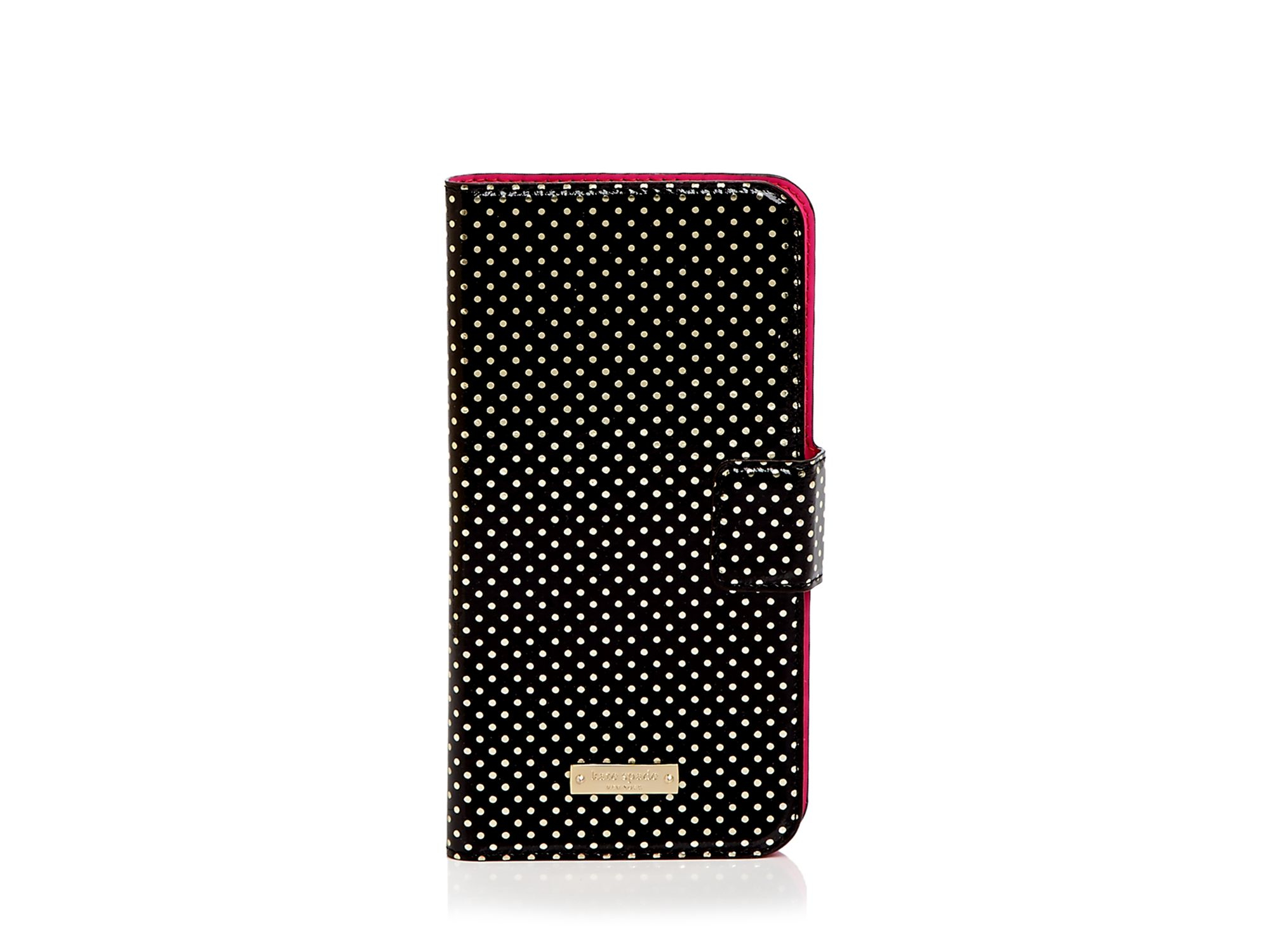 the best attitude 2ea74 c0422 kate spade new york Black Tiny Dot Folio Iphone 6 Plus Case