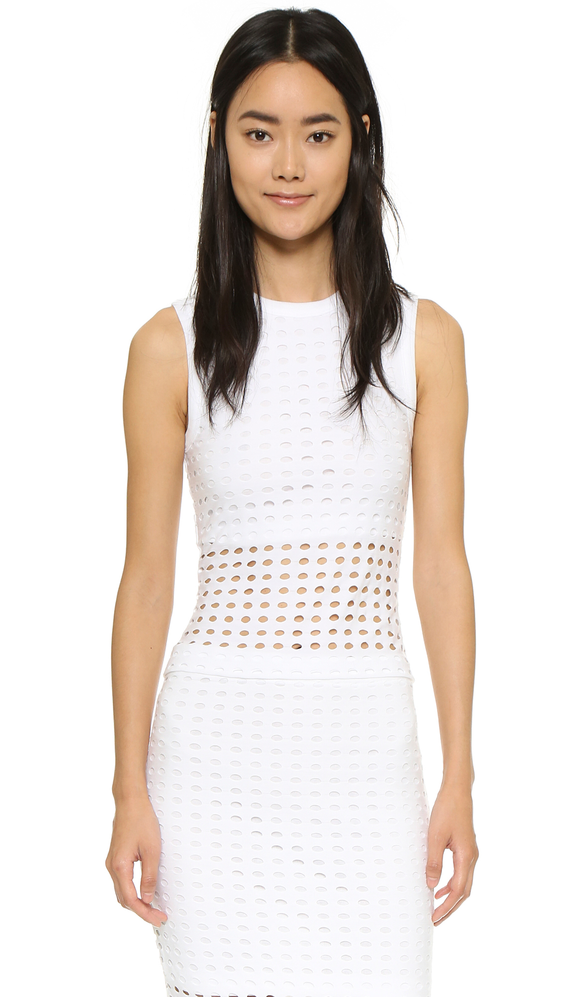 lyst t by alexander wang circular knit tank top in white. Black Bedroom Furniture Sets. Home Design Ideas
