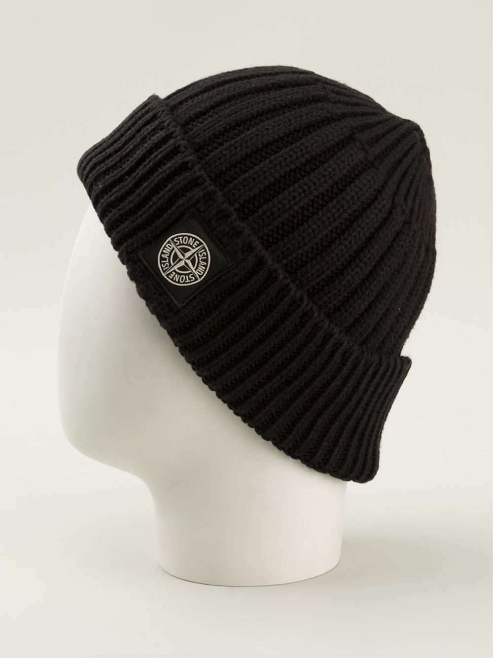 Lyst - Stone Island Ribbed Beanie Hat in Black for Men 9a2feb99795