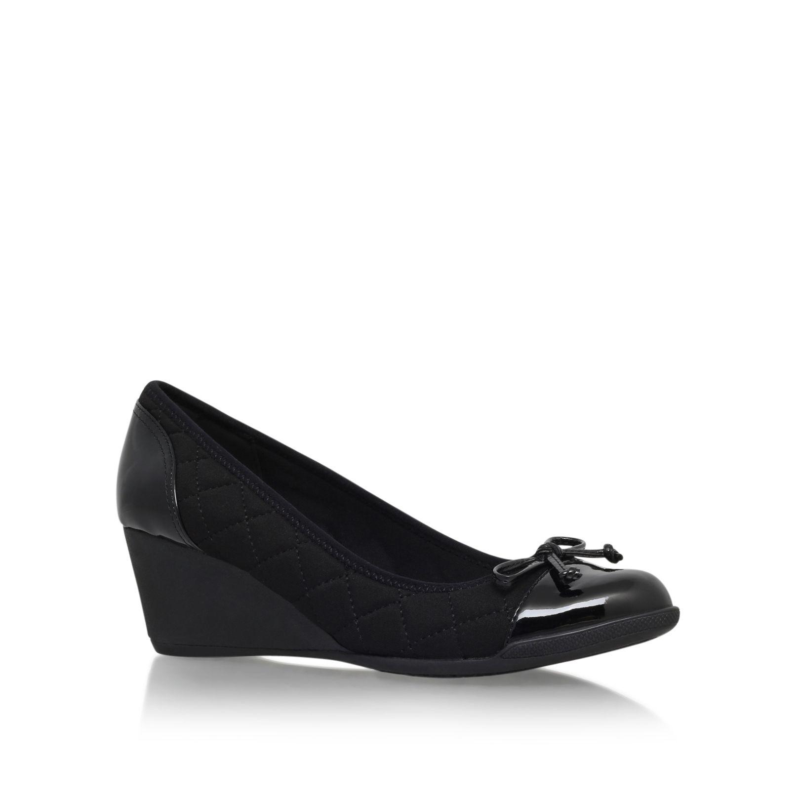Black Low Wedge Heels