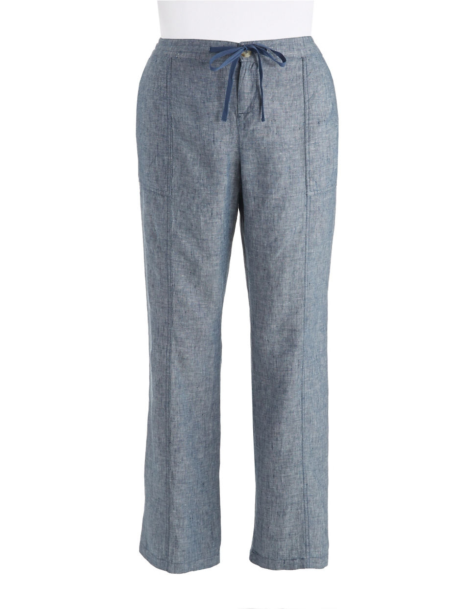 Lord & taylor Chambray Linen Pants With Drawstring Waist in Gray ...