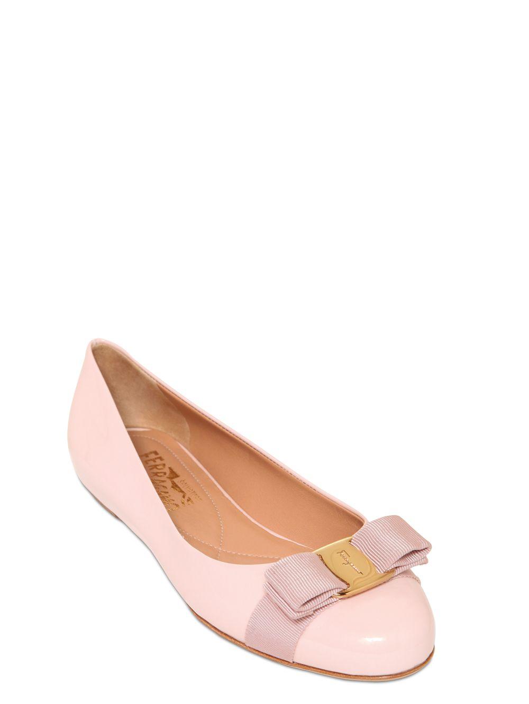 Lyst Ferragamo Varina Patent Leather Ballerina Flats In Pink