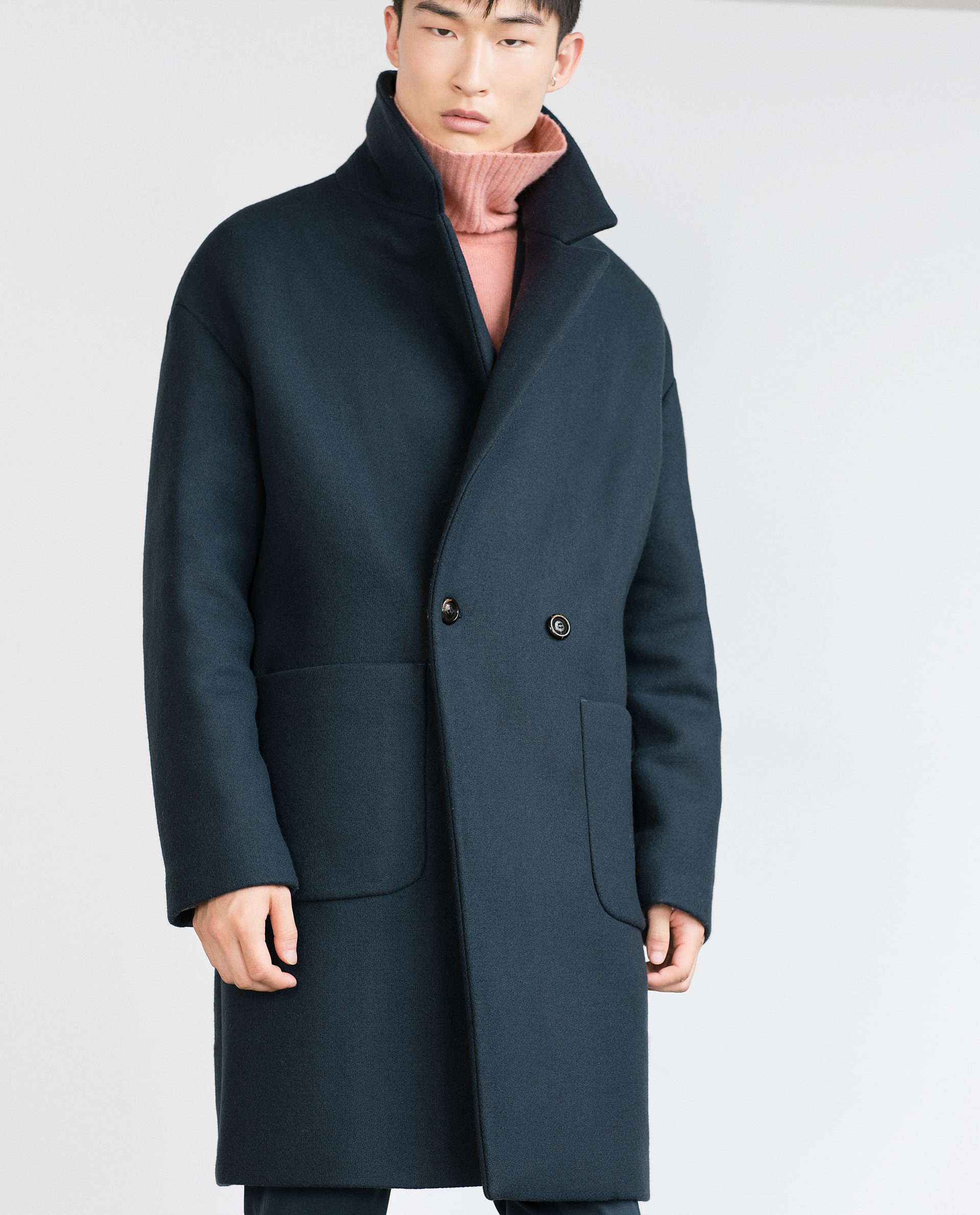 zara oversized coat in blue for men lyst. Black Bedroom Furniture Sets. Home Design Ideas