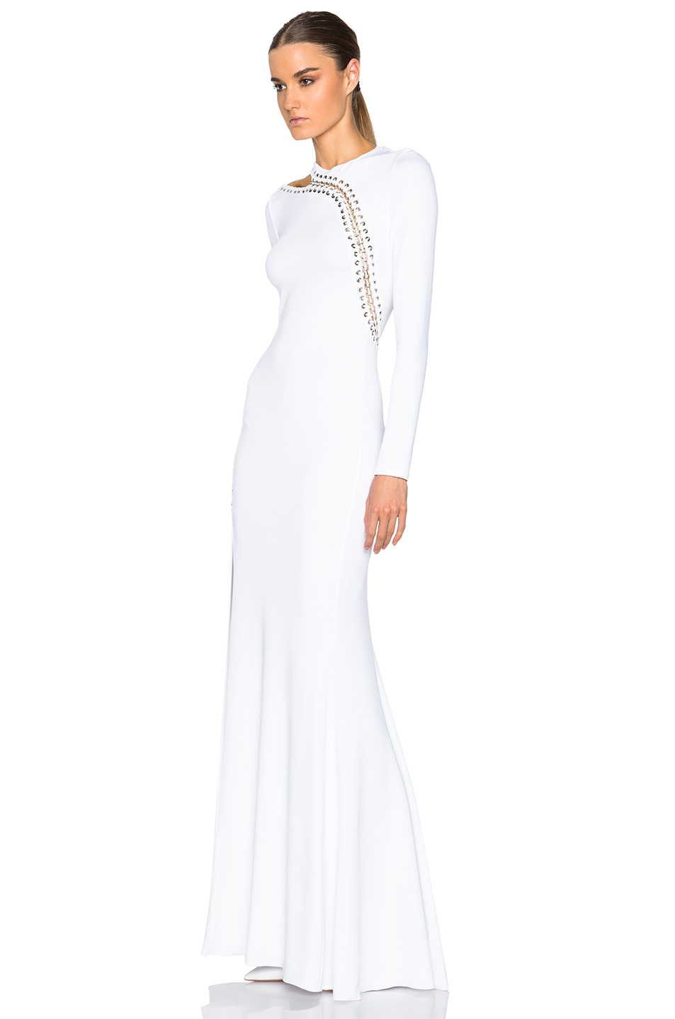 Emilio pucci Long Sleeve Gown With Slit in White | Lyst