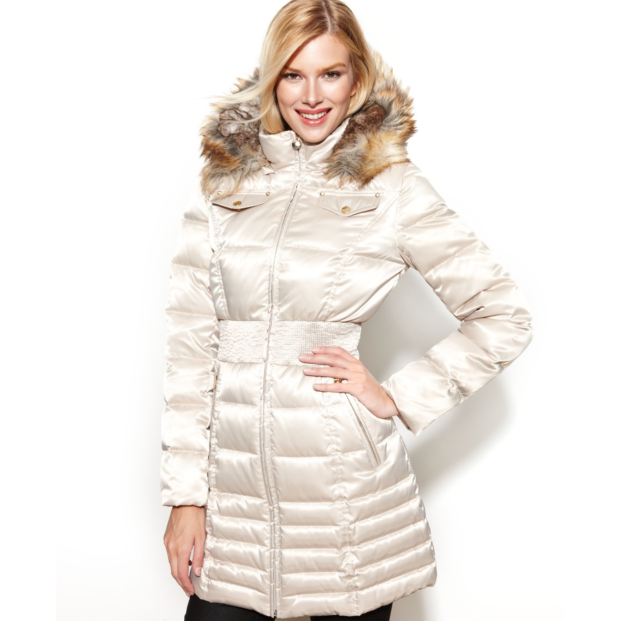 Laundry By Shelli Segal Faux Fur Trim Hooded Down Puffer