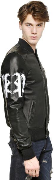 Philipp Plein Bad Boy Leather Bomber Jacket In Black For