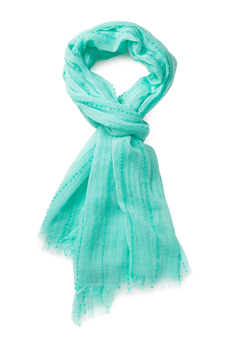 forever 21 striped swiss dot scarf in blue lyst