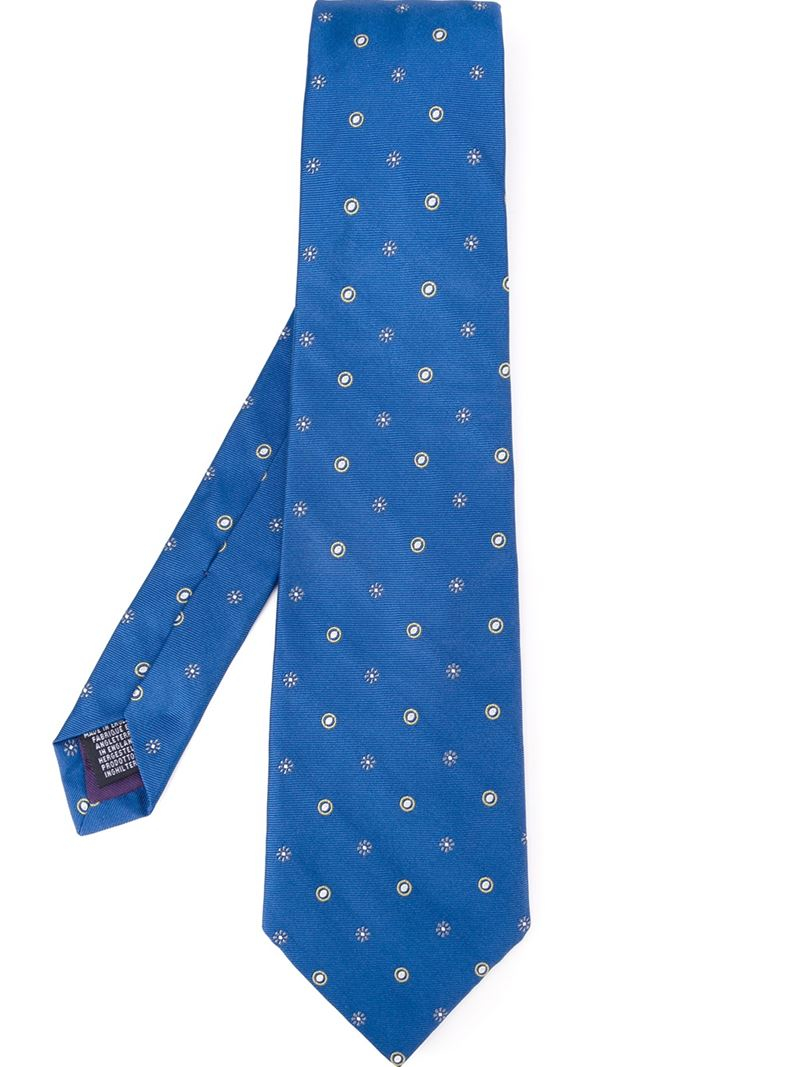 Lyst paul smith dot and flower embroidered tie in blue