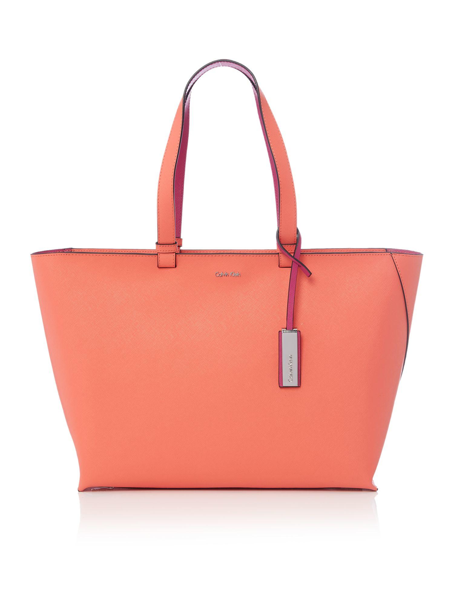 Calvin Klein Sofie Orange Large Tote Bag In Orange Lyst
