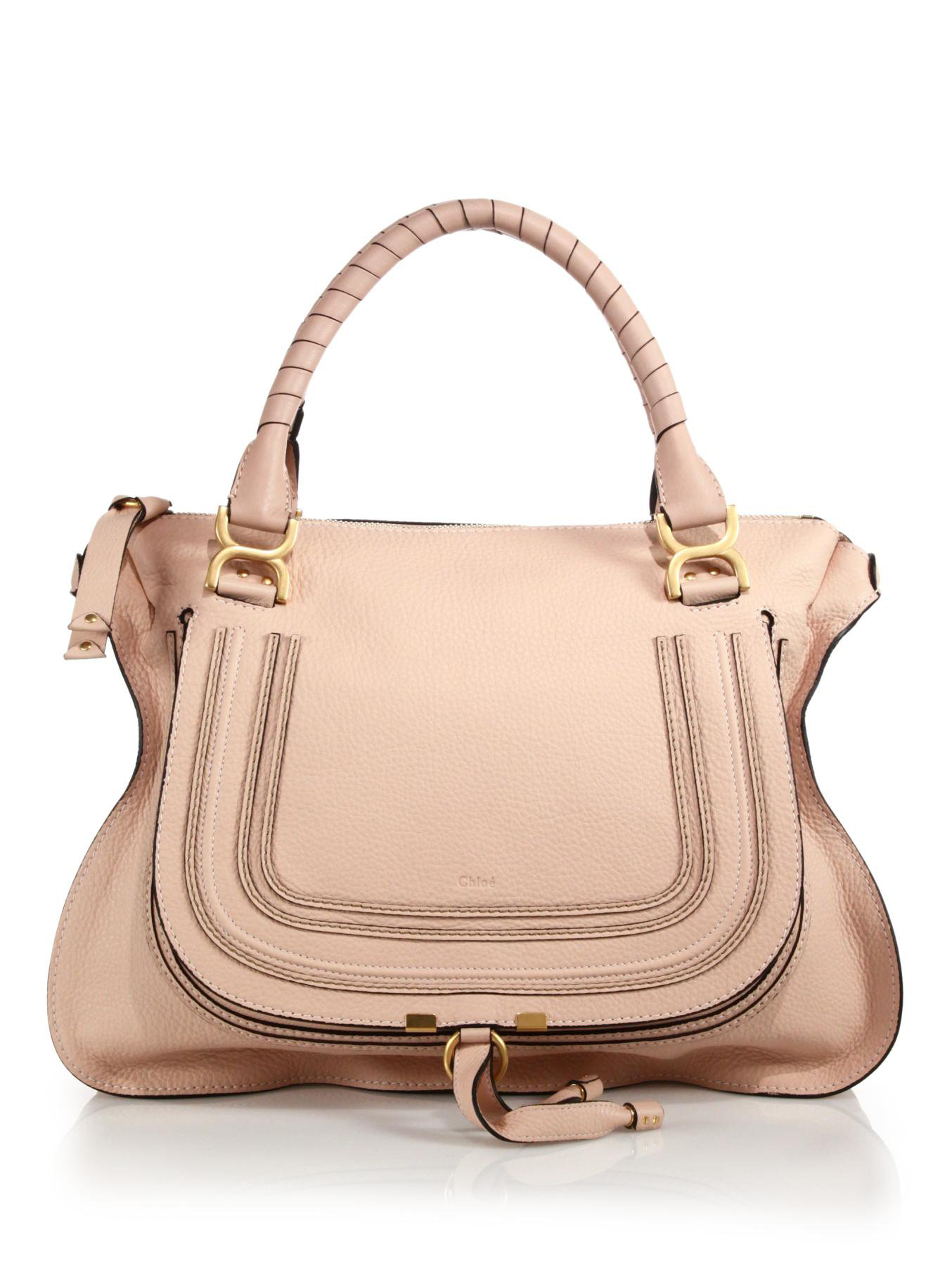 Chlo�� Marcie Large Leather Satchel in Pink (BLUSH NUDE) | Lyst