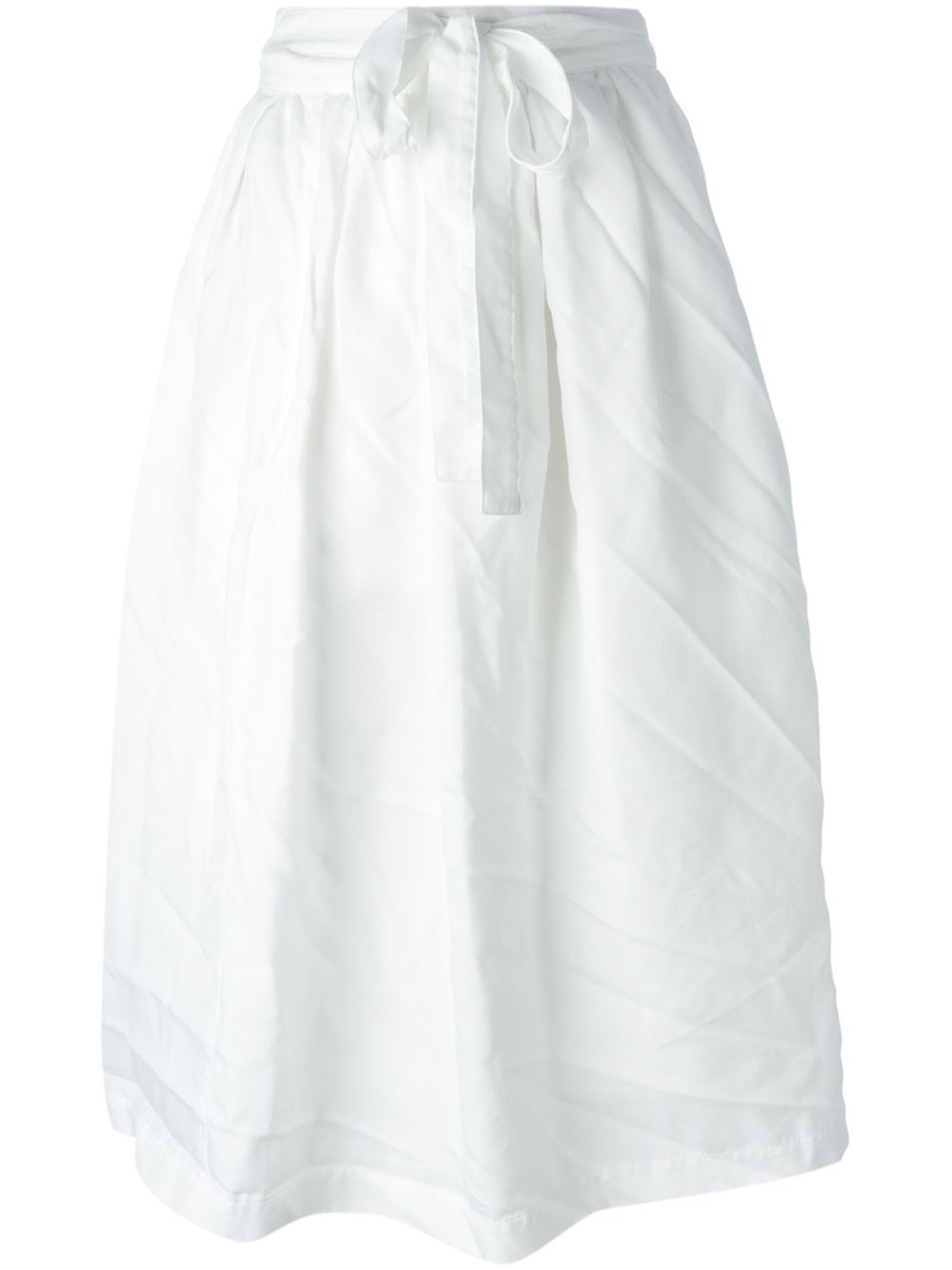 comme des gar 231 ons high waist midi skirt in white lyst