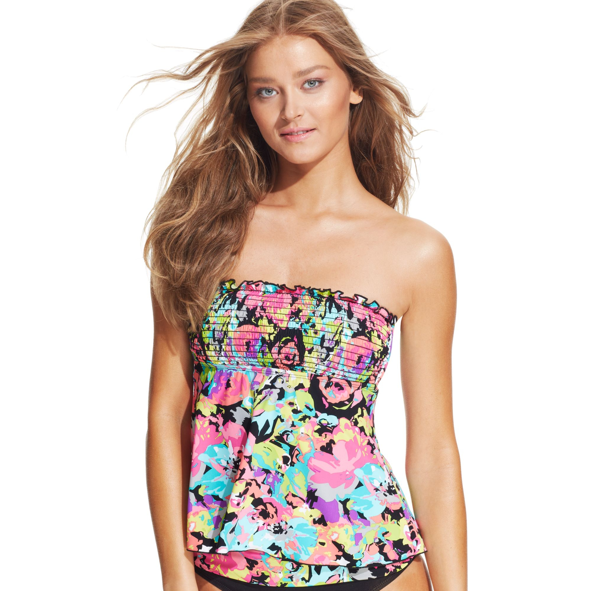 kenneth cole reaction floralprint smocked bandeau tankini top lyst. Black Bedroom Furniture Sets. Home Design Ideas