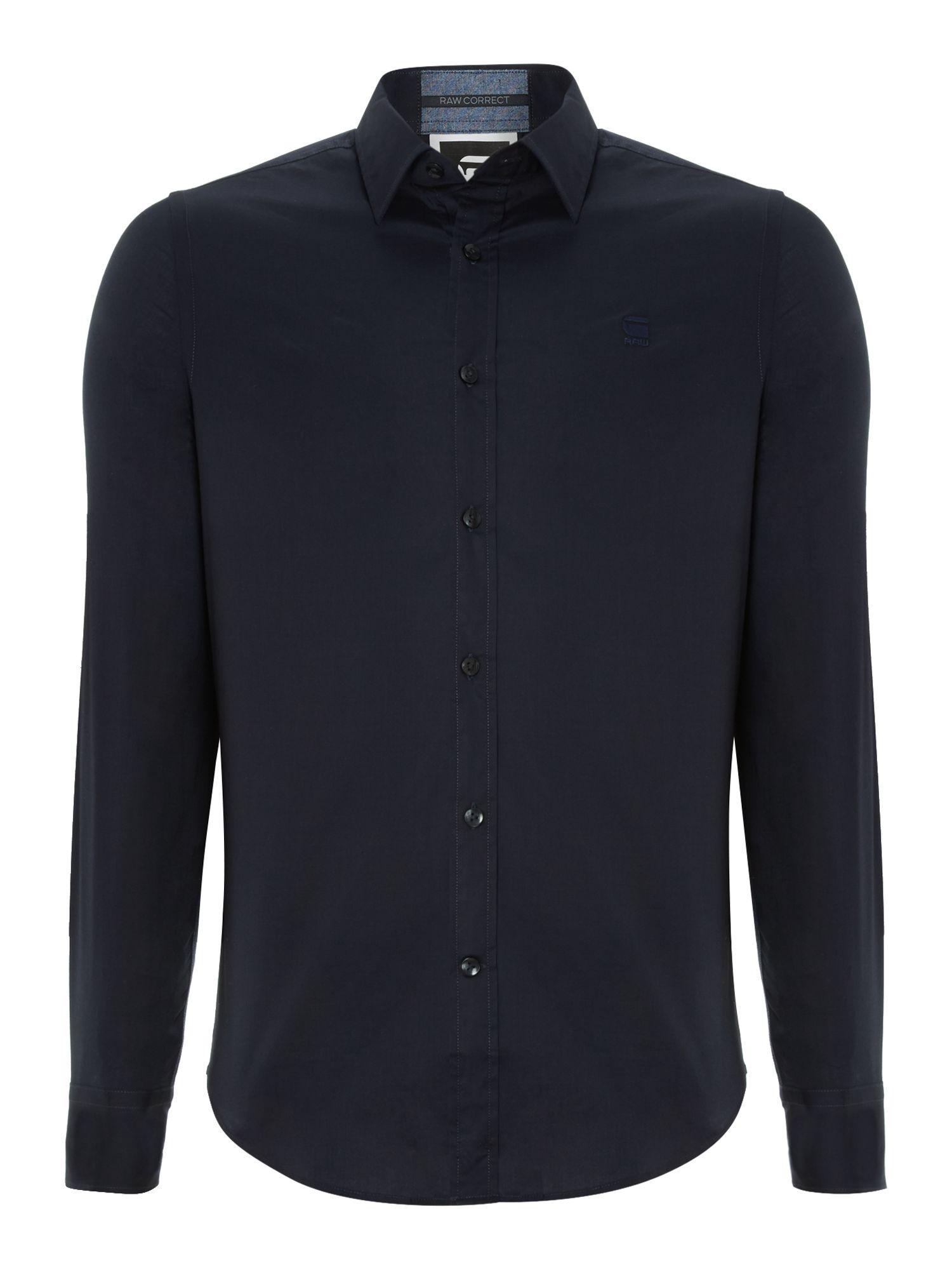 G star raw 2 pocket lightweight long sleeve shirt in blue for Long sleeve pocket shirts