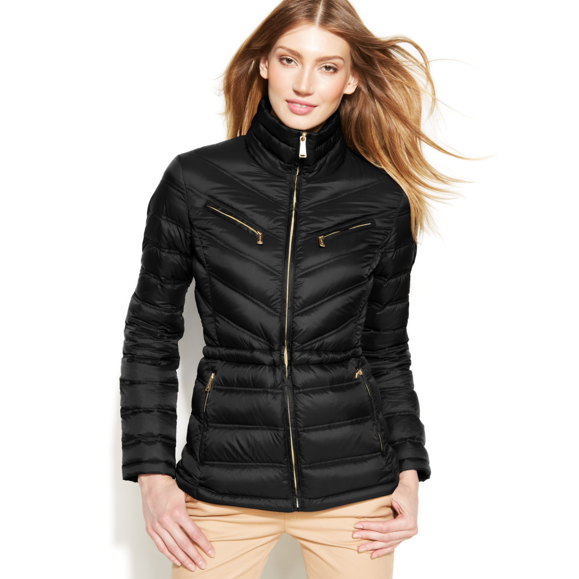 michael kors michael packable quilted cinchable down puffer coat in black lyst. Black Bedroom Furniture Sets. Home Design Ideas