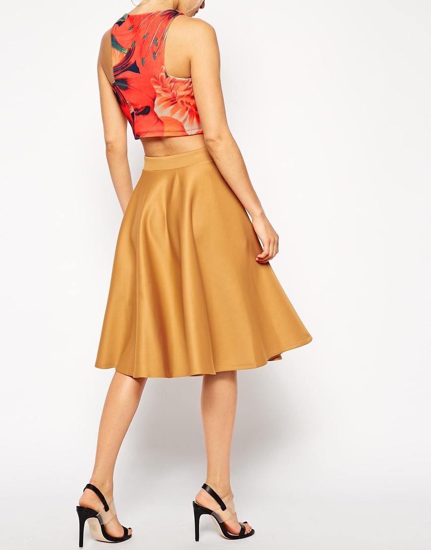 asos midi skirt in scuba with pockets in brown lyst