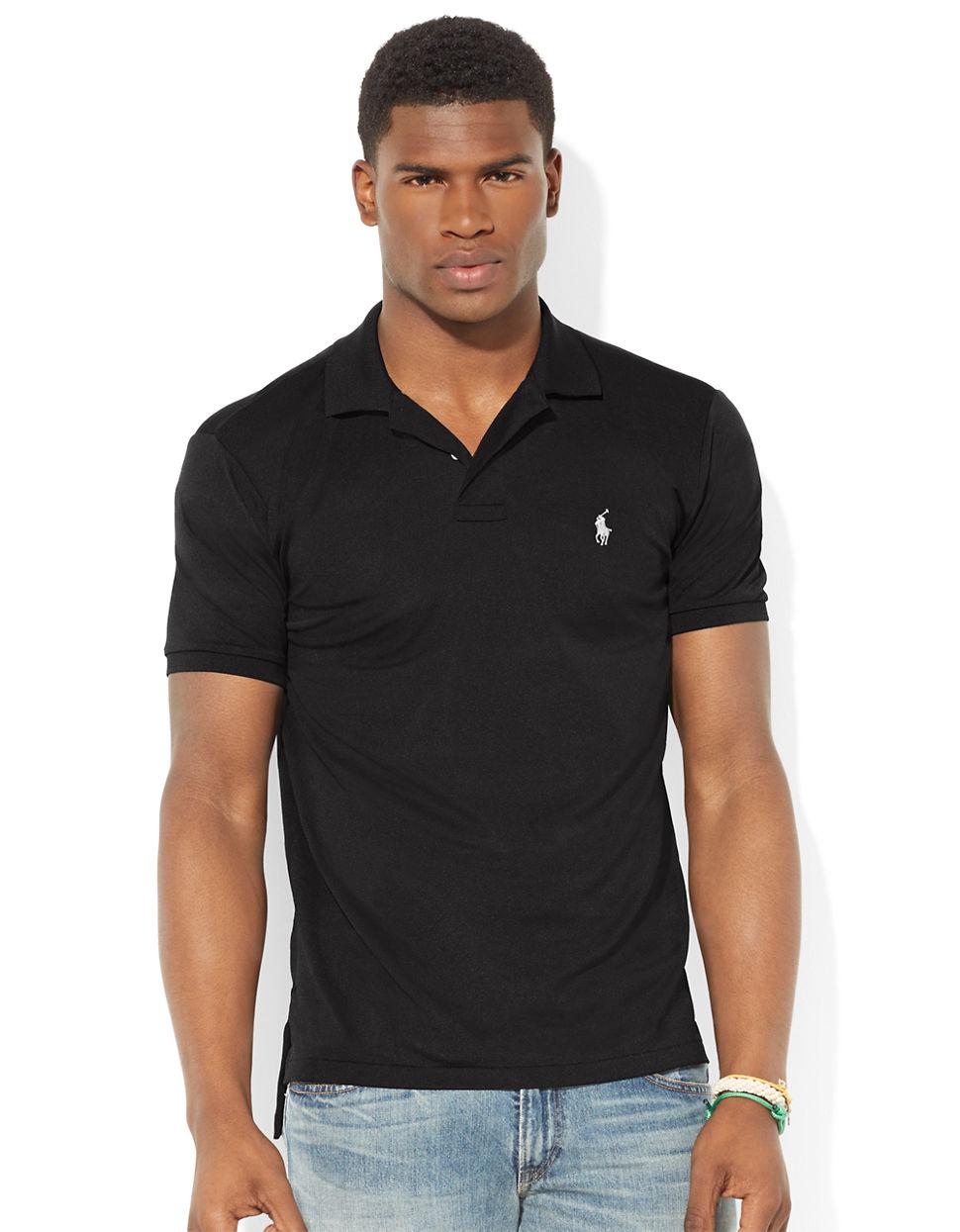 5fe64fa0 Polo Ralph Lauren Performance Mesh Polo Shirt in Black for Men - Lyst