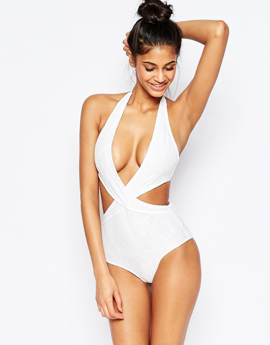 4a8ae96a4fcd4 Wolf   Whistle Lace Plunge Swimsuit - White in White - Lyst