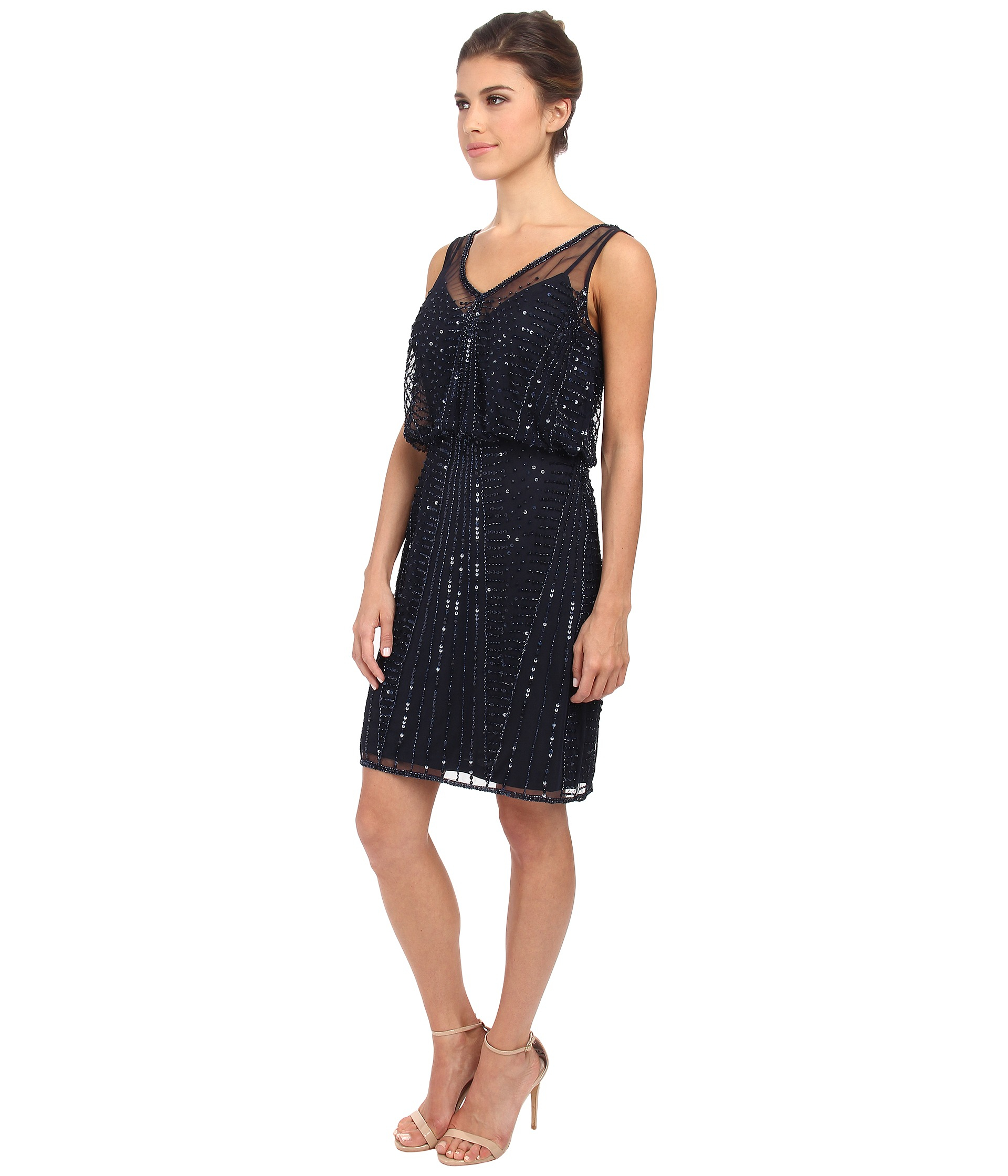 31019694a3e Lyst - Adrianna Papell Short Beaded Cocktail Dress in Blue