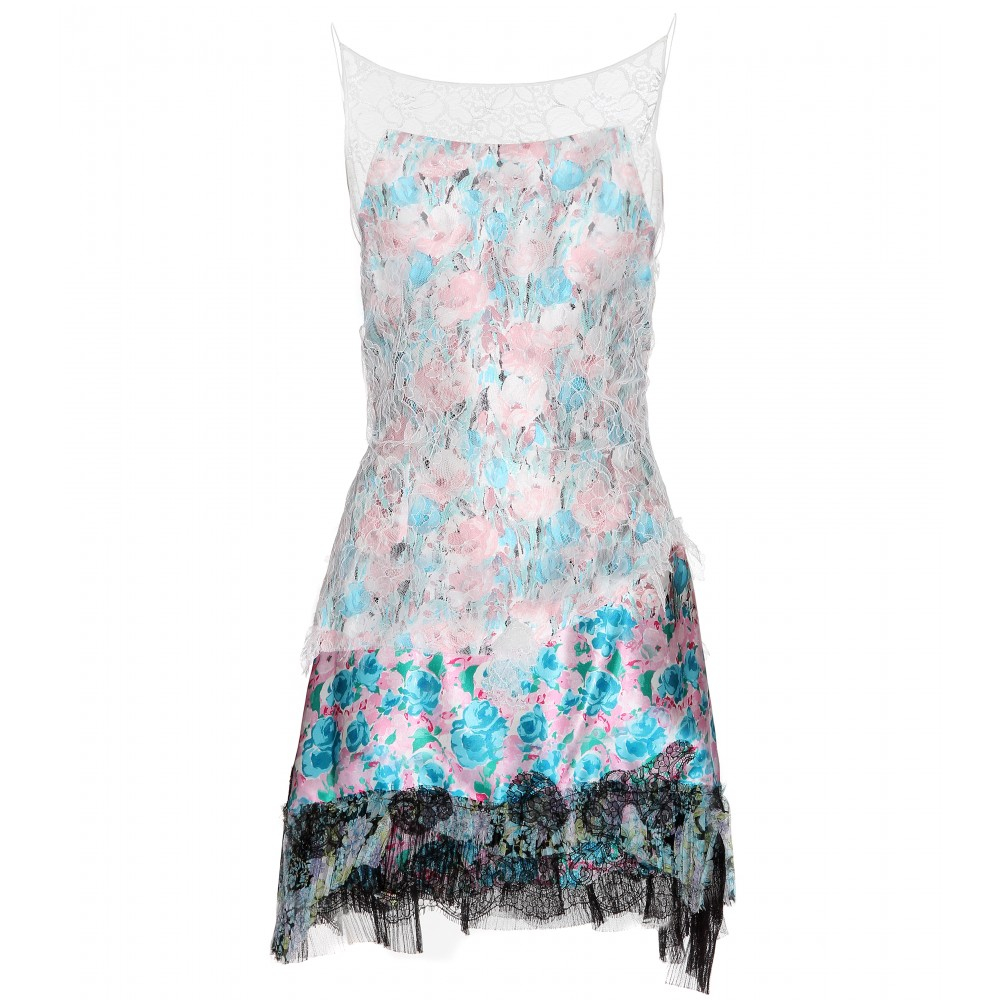 Nina Ricci Printed Silk Dress with Lace in Blue (pink)