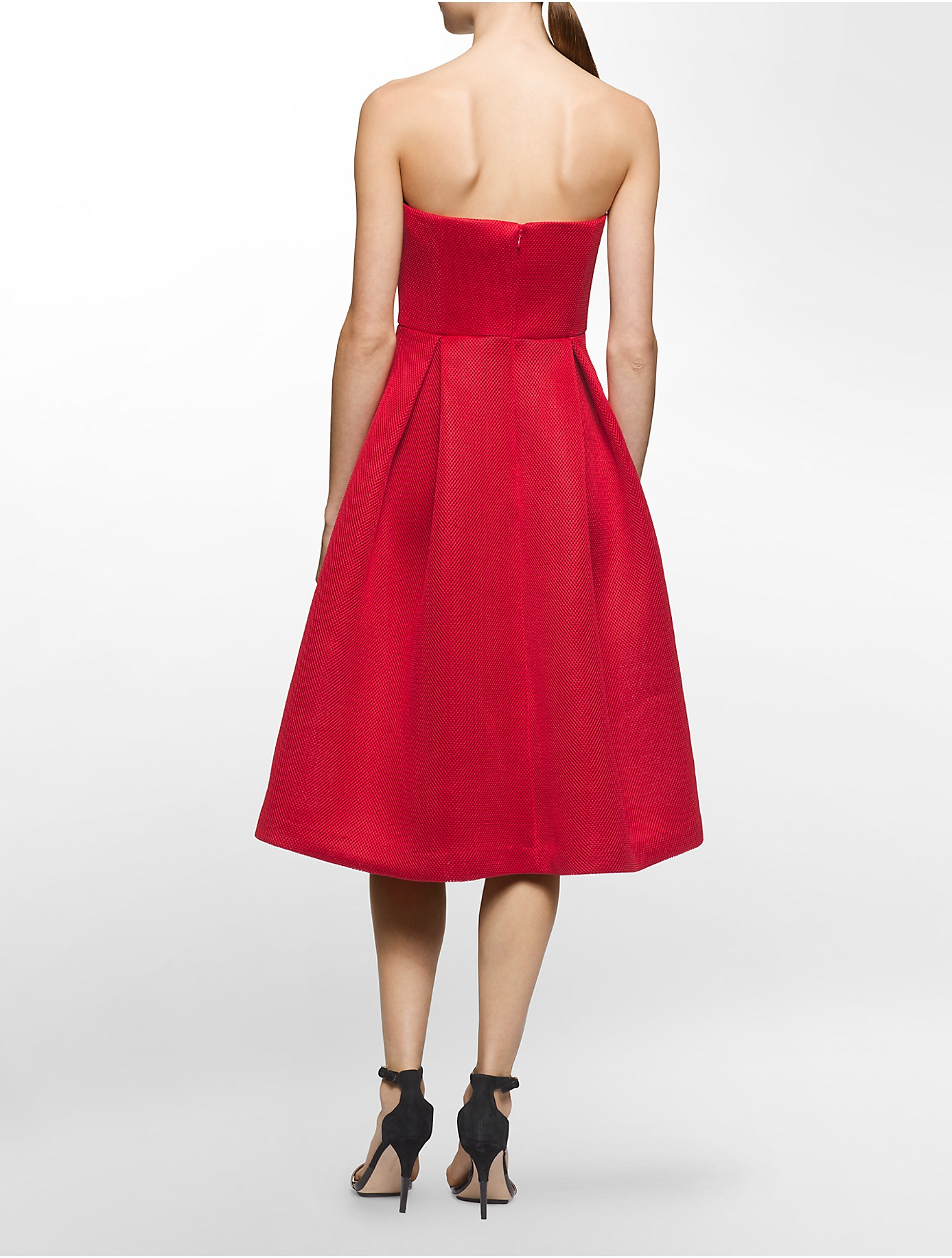 Calvin Klein Mesh Strapless Fit Flare Dress In Red Lyst