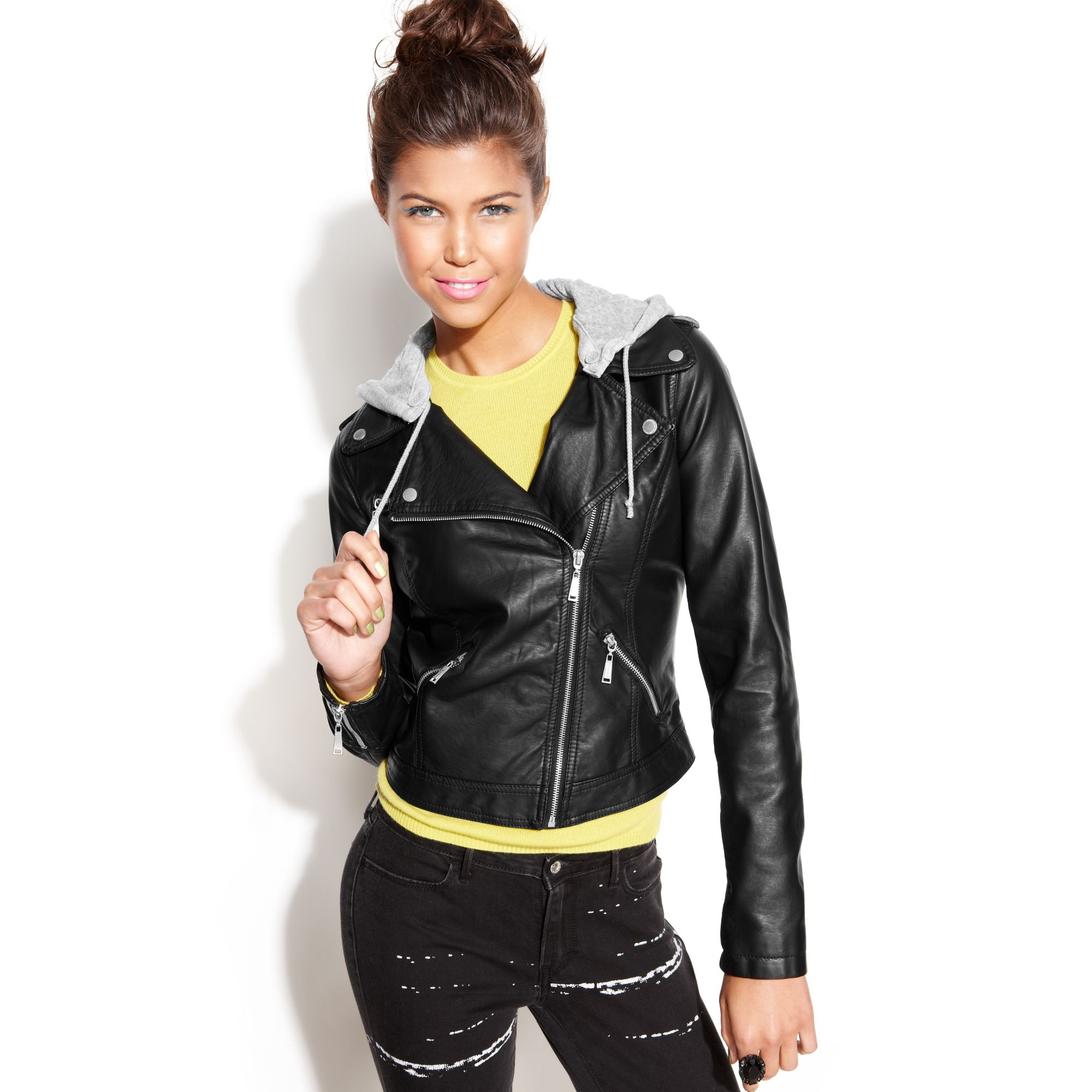 most popular better vivid and great in style Jou Jou Juniors Hooded Asymmetrical Fauxleather Motorcycle ...