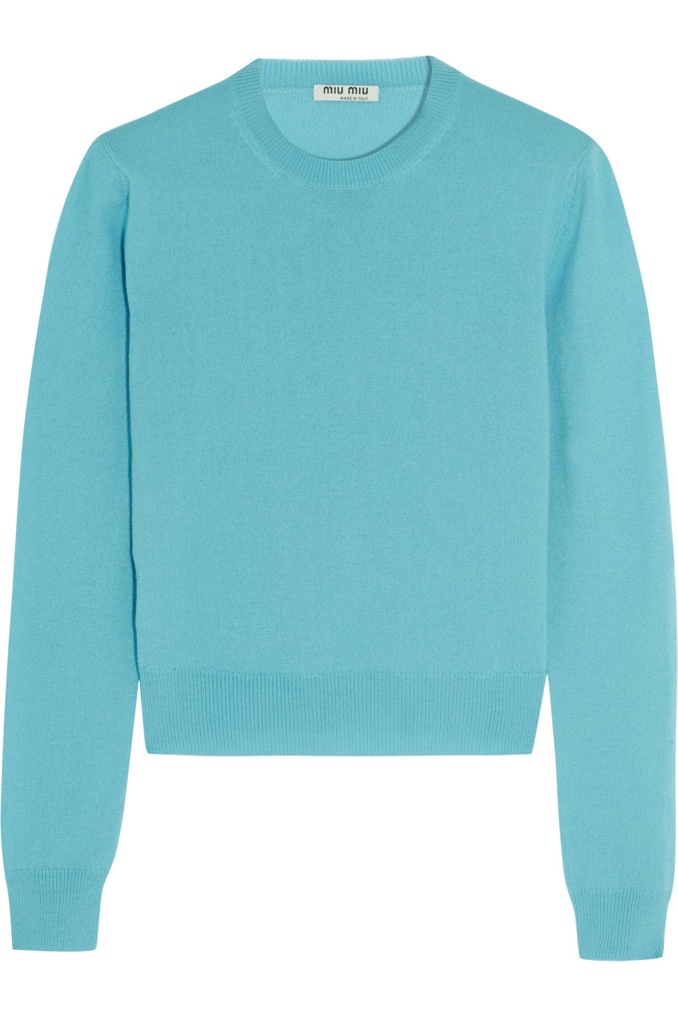 Miu miu - Cashmere Sweater - Turquoise in Blue | Lyst