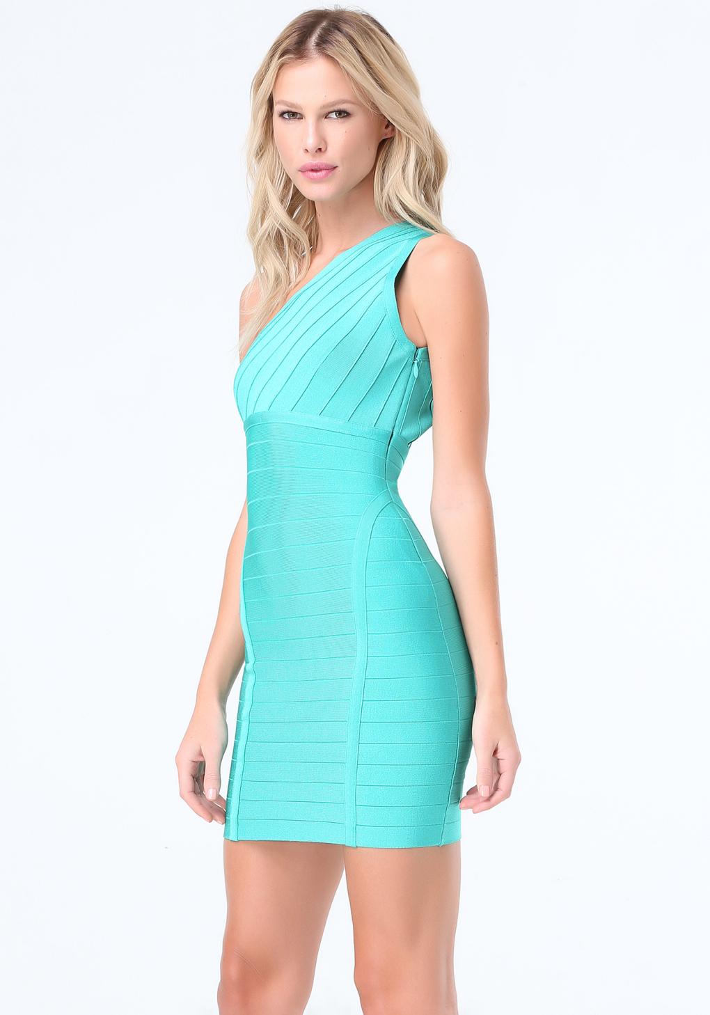Lyst - Bebe One Shoulder Bandage Dress in Blue
