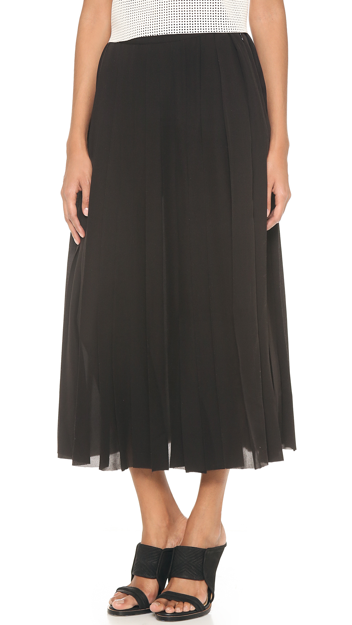 blk dnm silk pleated skirt in black lyst