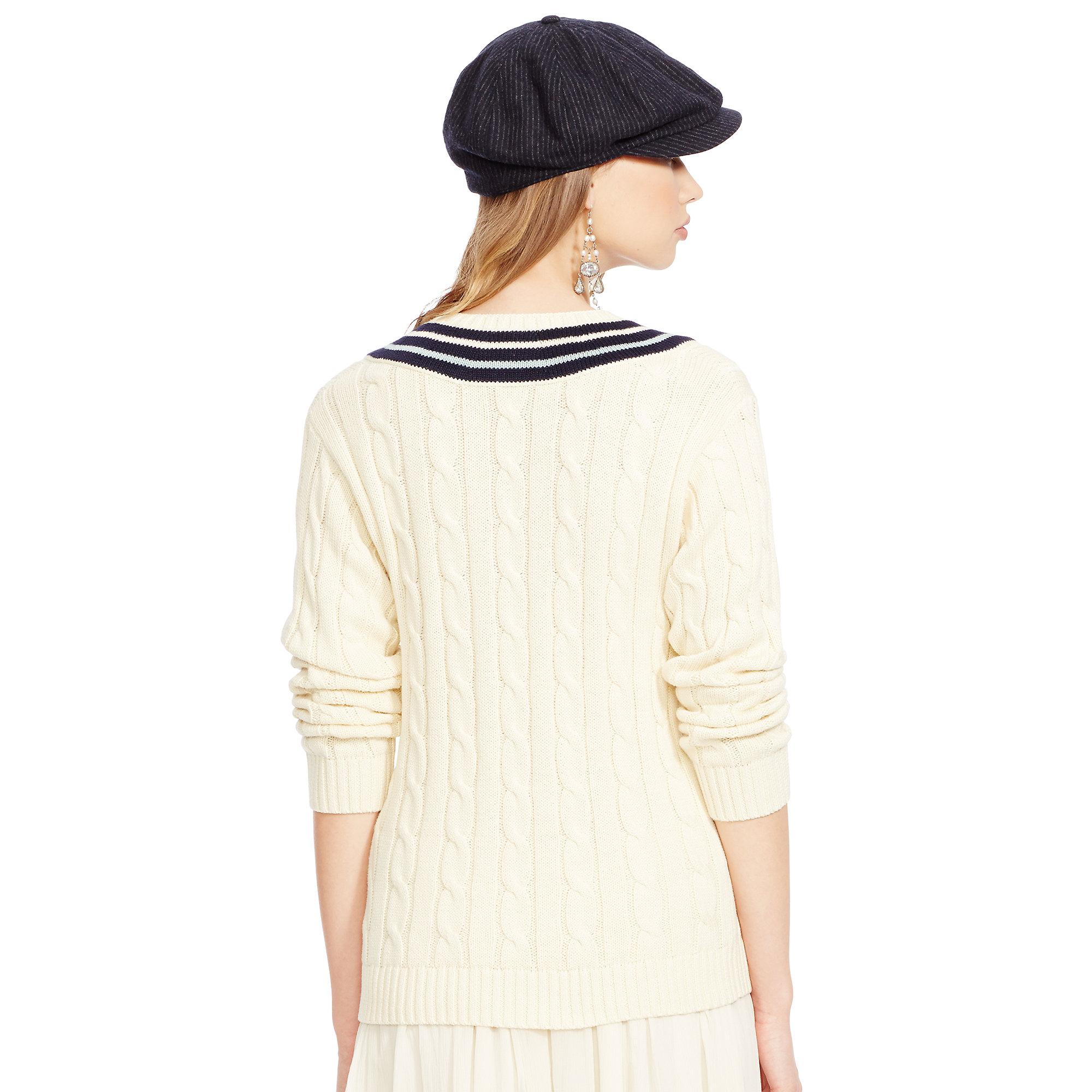 Lyst Ralph Lauren Cotton V Neck Cricket Sweater In Natural