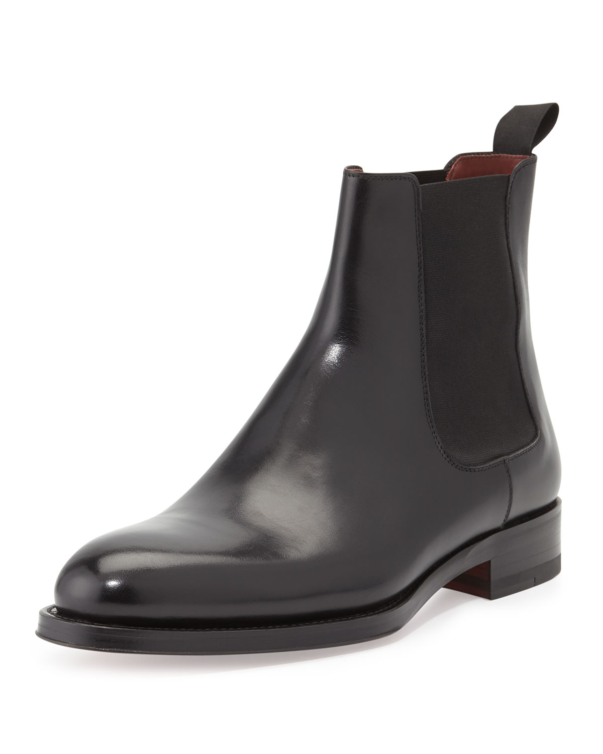 neiman marcus polished leather chelsea boot in black for. Black Bedroom Furniture Sets. Home Design Ideas