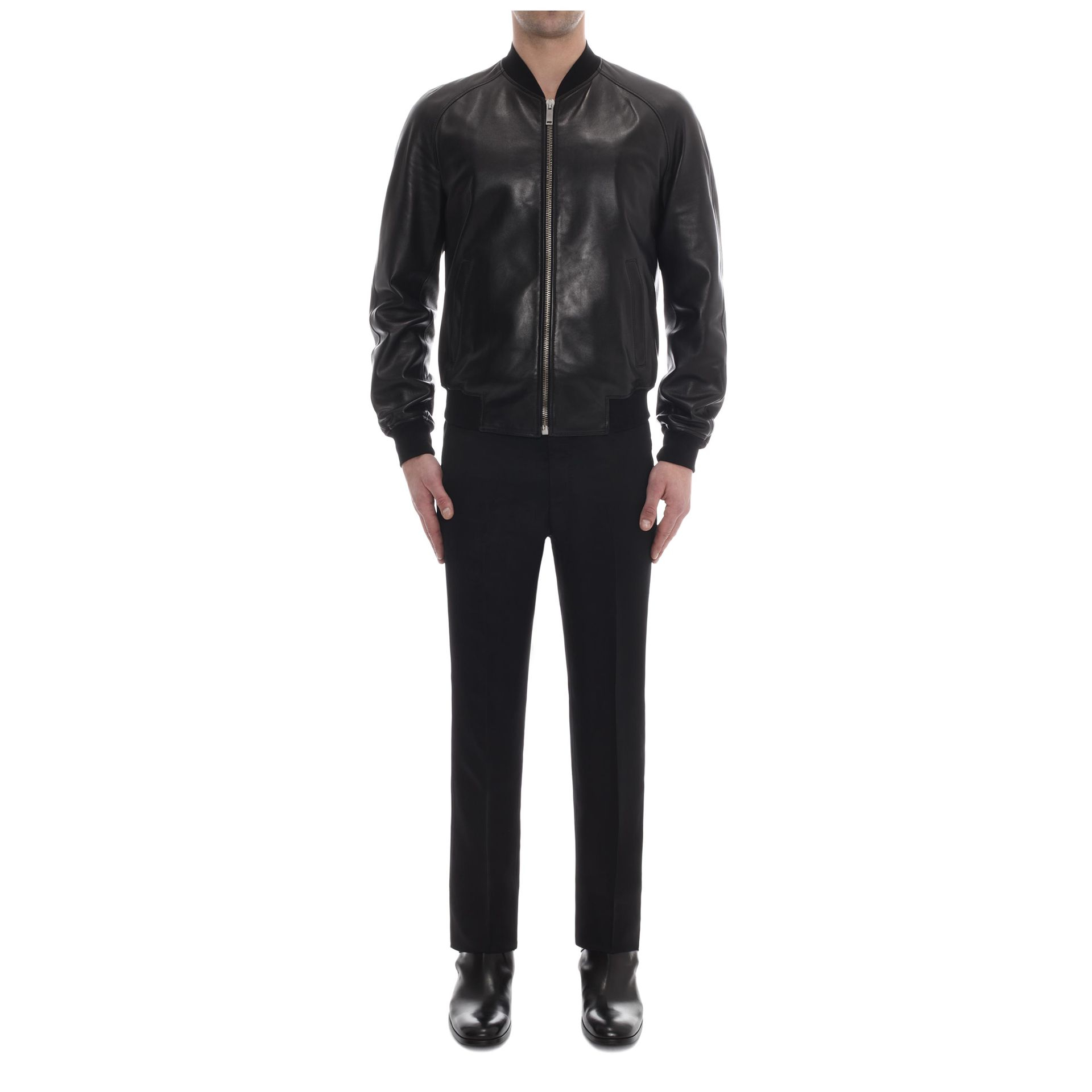 451facd15 Alexander McQueen Perforated Skull Leather Bomber Jacket in Black ...