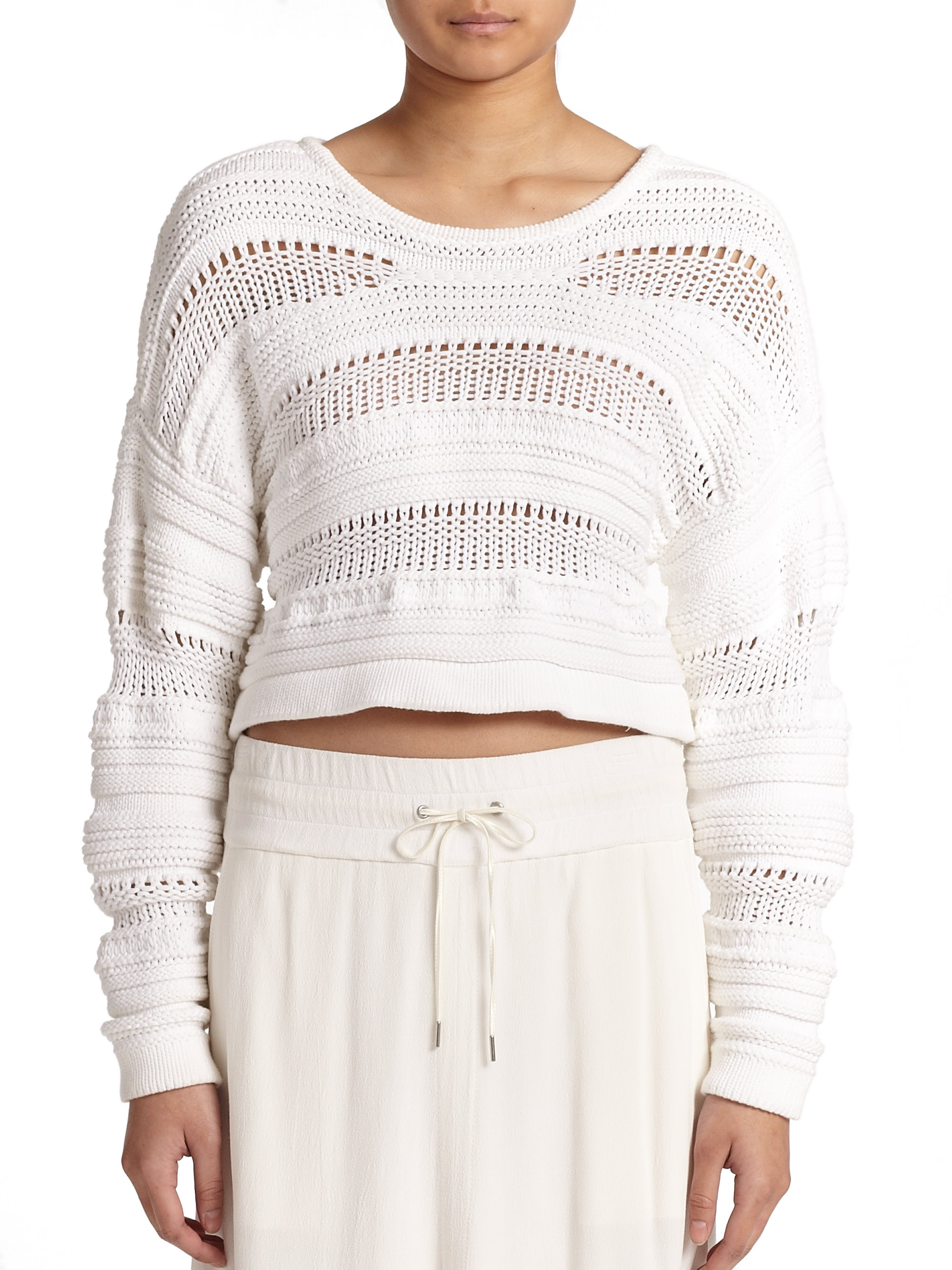 78dce755 Helmut Lang Open-knit Cropped Sweater in White - Lyst