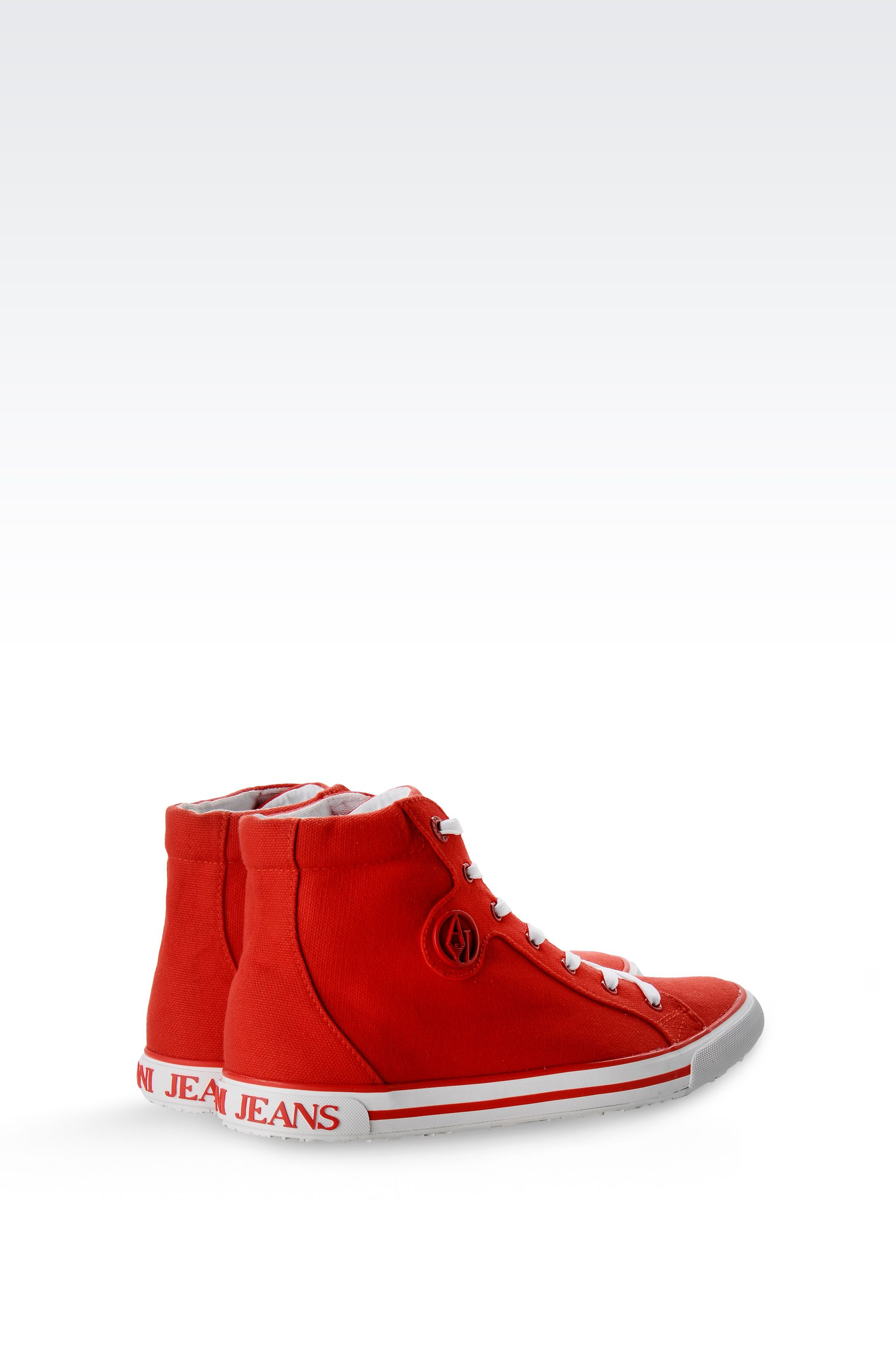 armani jeans high top canvas sneaker with logo in red lyst. Black Bedroom Furniture Sets. Home Design Ideas