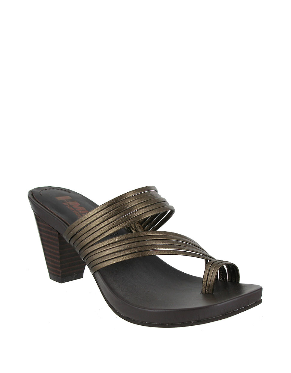 091ba345ae0a Lyst - Mia Virgo Leather Toe Ring Sandals in Metallic