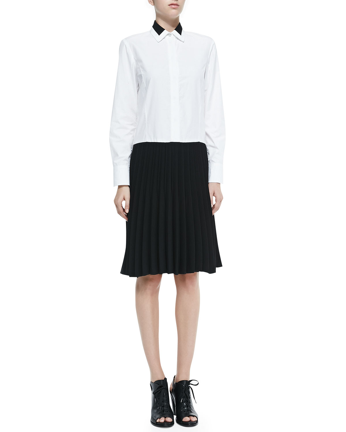 Lyst rag bone courcheval shirt dress with pleated for Black pleated dress shirt