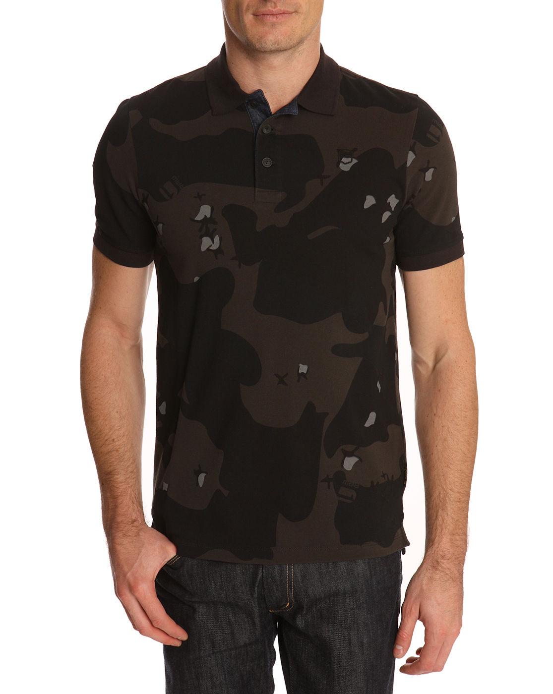 G star raw joakin camo polo shirt in black for men camo for Camo polo shirts for men