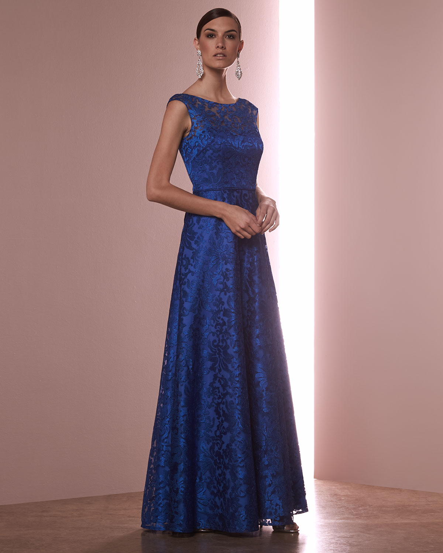 Lyst - Aidan Mattox Sleeveless Floral Lace Ball Gown in Blue