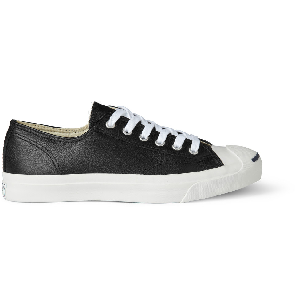 Converse Jack Purcell Leather Sneakers in Black/White (Black) for Men