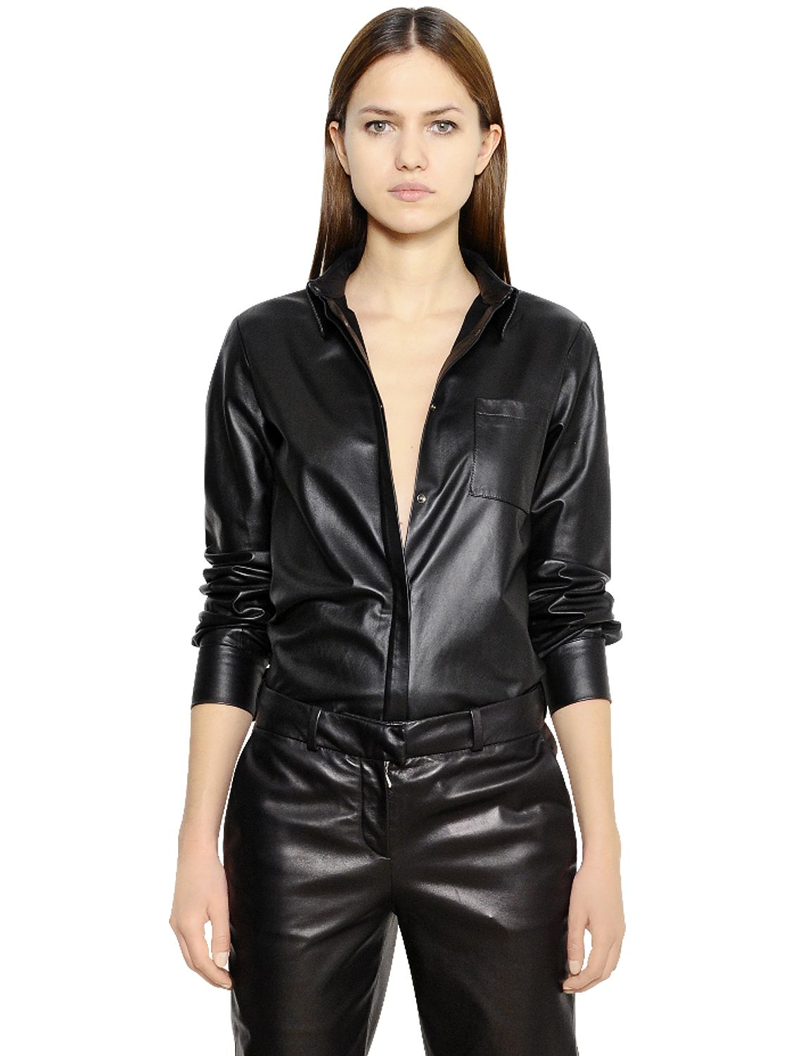 Mugler nappa leather shirt in black lyst for Red leather shirt for womens
