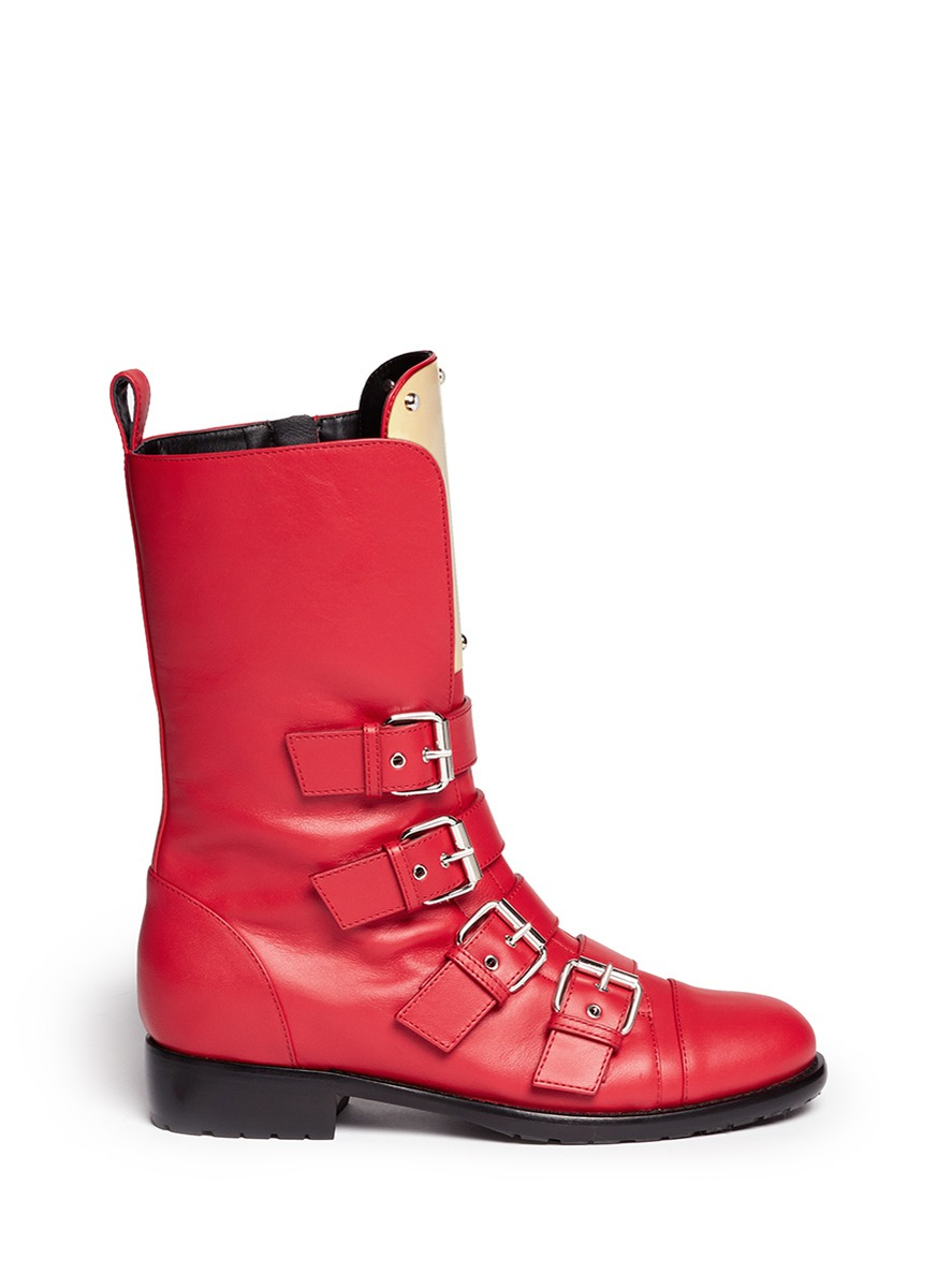 Giuseppe Zanotti 'cobain' Metal Plate Motorcycle Boots in Red