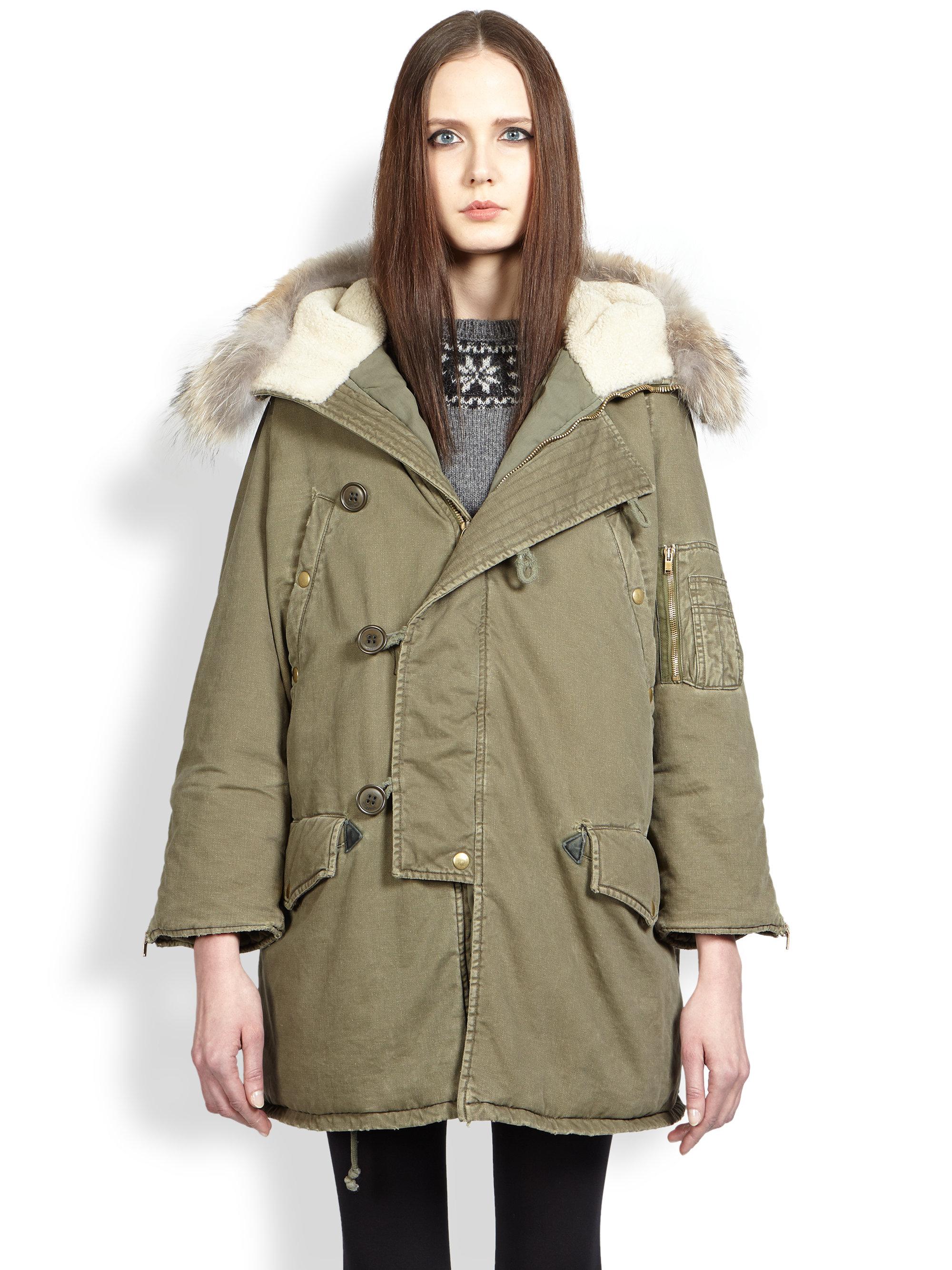 e83610208 Saint Laurent Green Fur-trimmed Army Parka