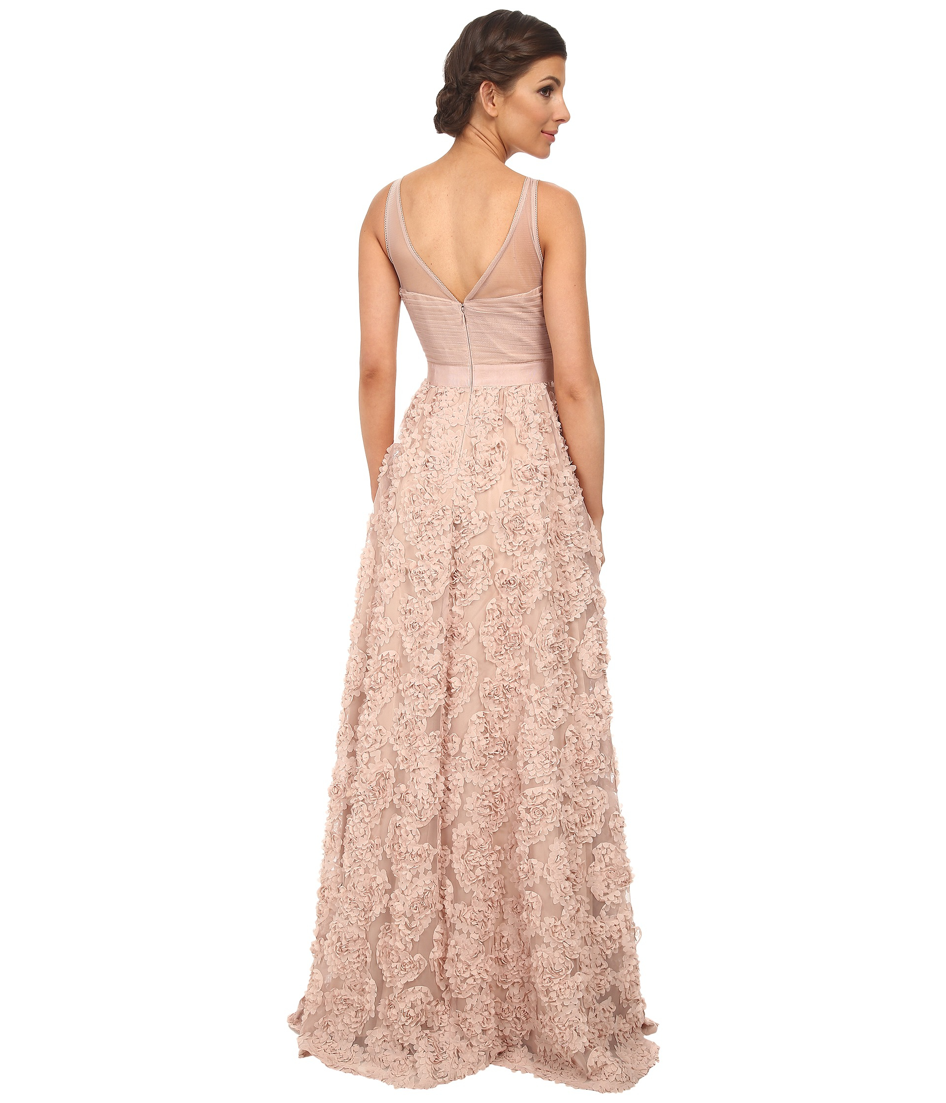 75a411eed6b8 Adrianna Papell Sleeveless Tulle Chiffon Petal Ballgown in Natural ...