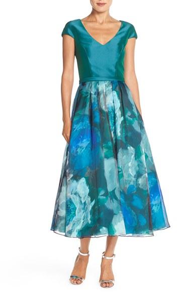 Lyst Theia Print Silk Tea Length Gown In Blue