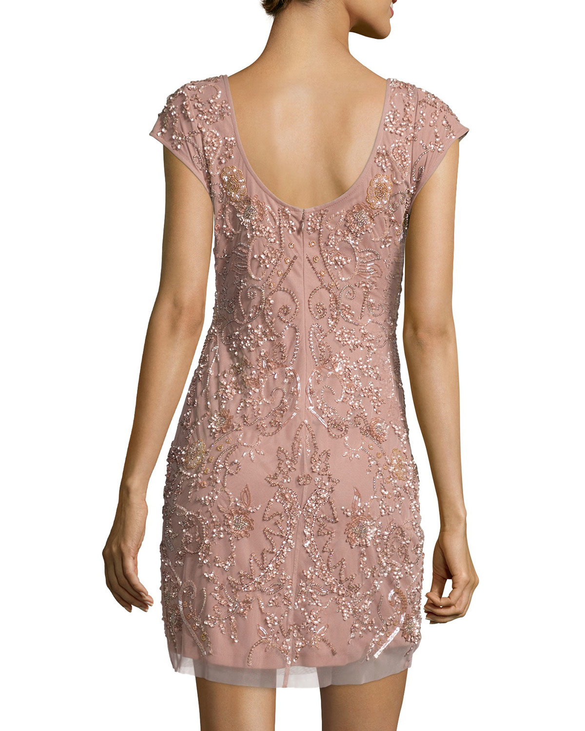 Aidan Mattox Cap Sleeve Beaded Cocktail Dress In Pink Lyst