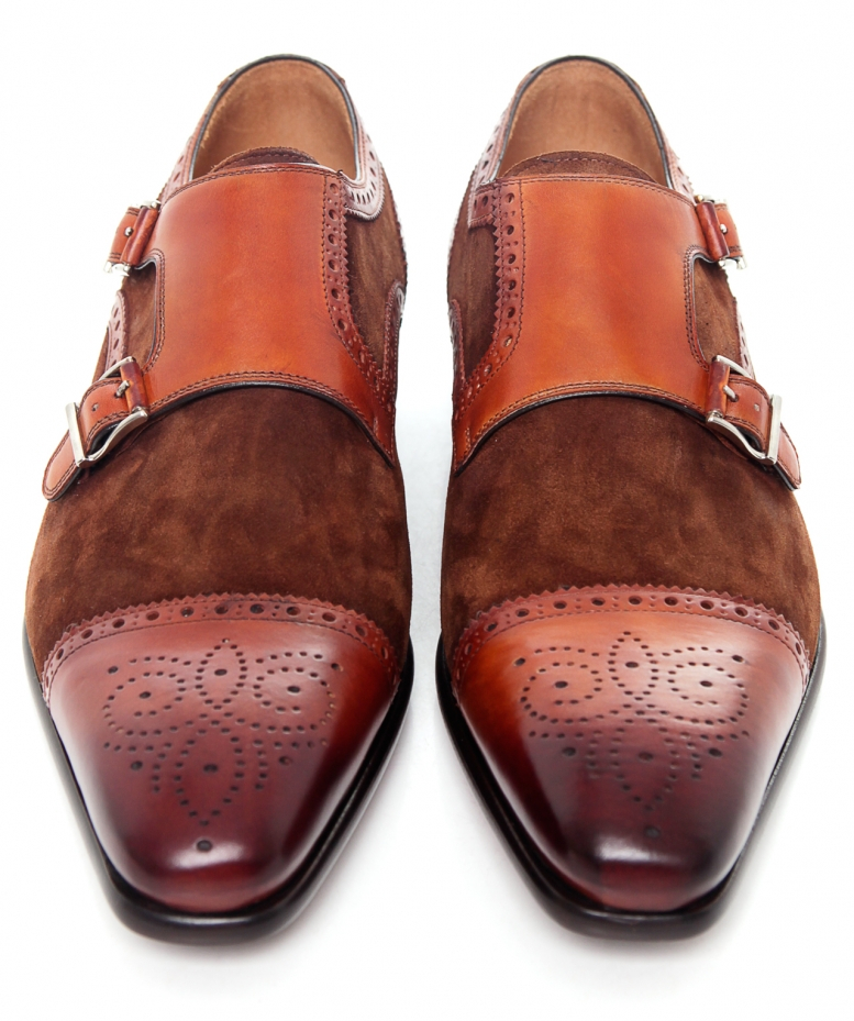 Saks Fifth Avenue Double Monk Strap Shoes In Brown For Men