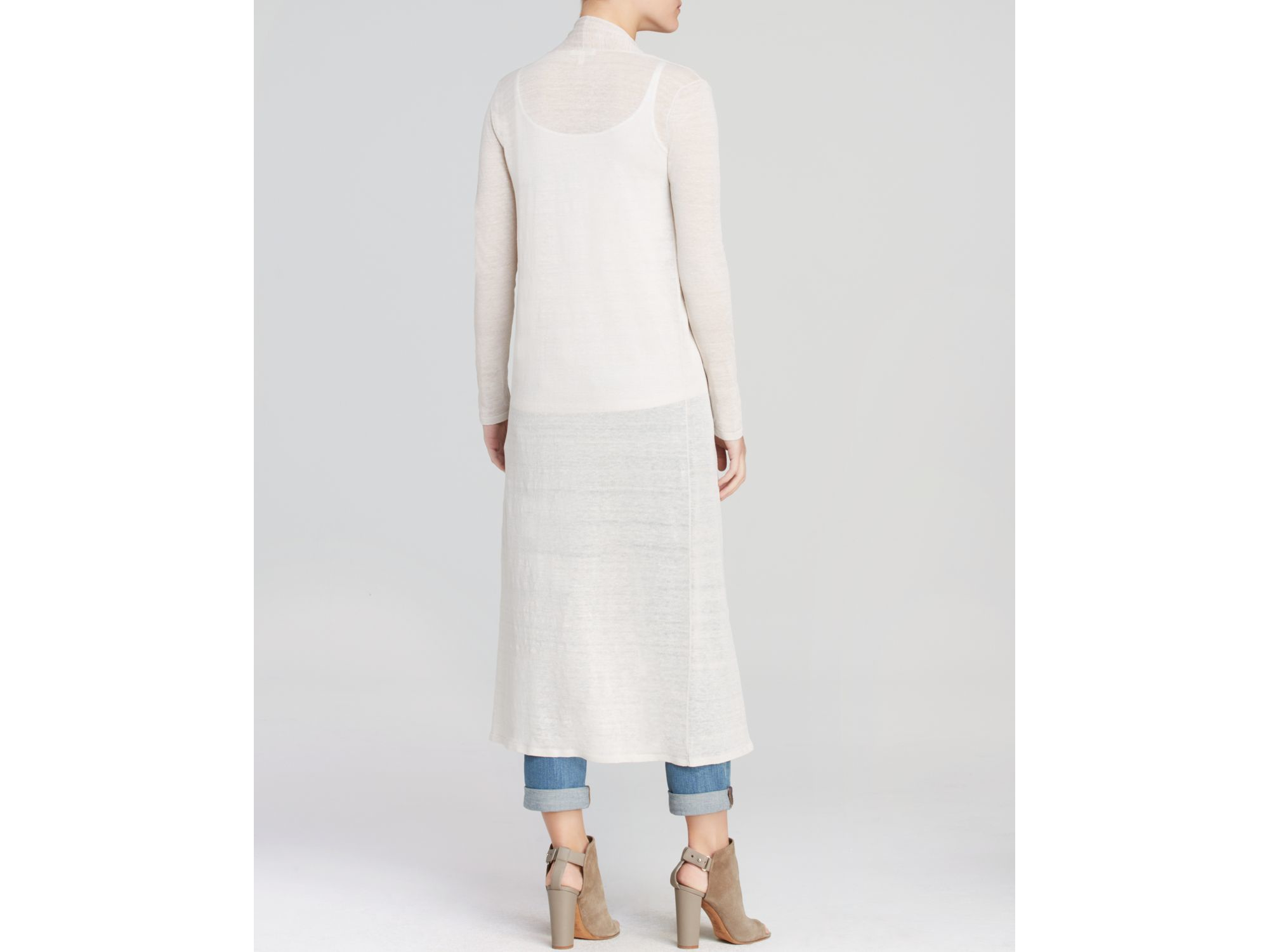 Eileen fisher Maxi Cardigan in White | Lyst