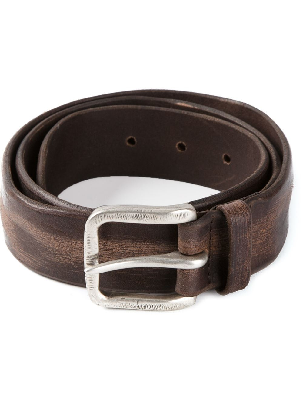 orciani rugged buckle belt in brown for lyst