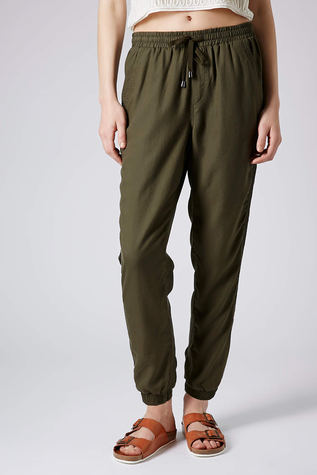 Lyst Topshop Satin Side Stripe Joggers In Natural