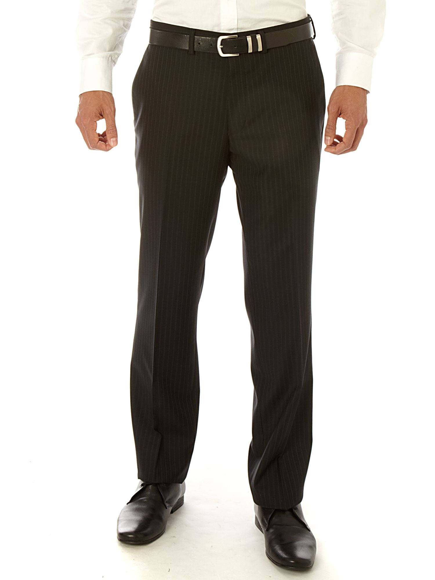 Simon Carter Single Breasted Peak Stripe Suit in Black for Men