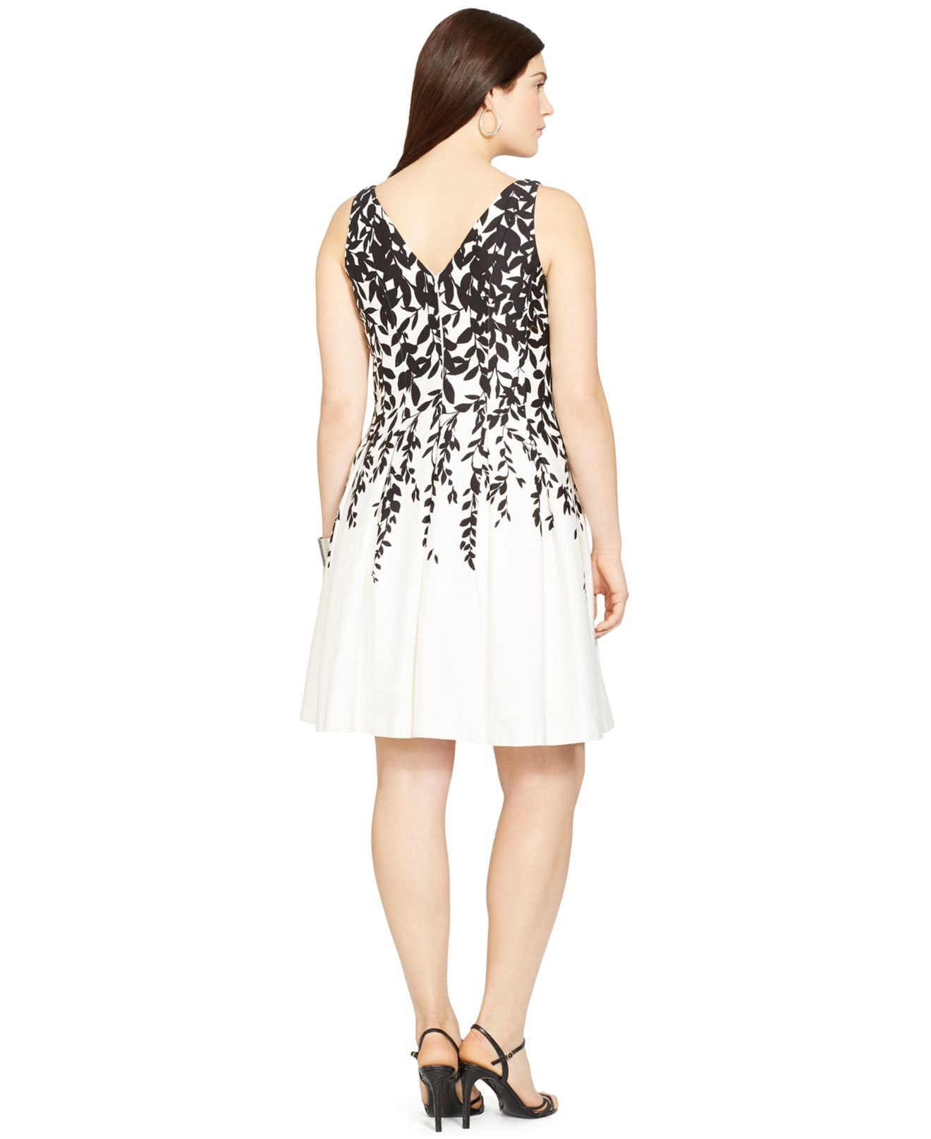 Lyst Lauren By Ralph Lauren Plus Size Floral Print Pleated Dress